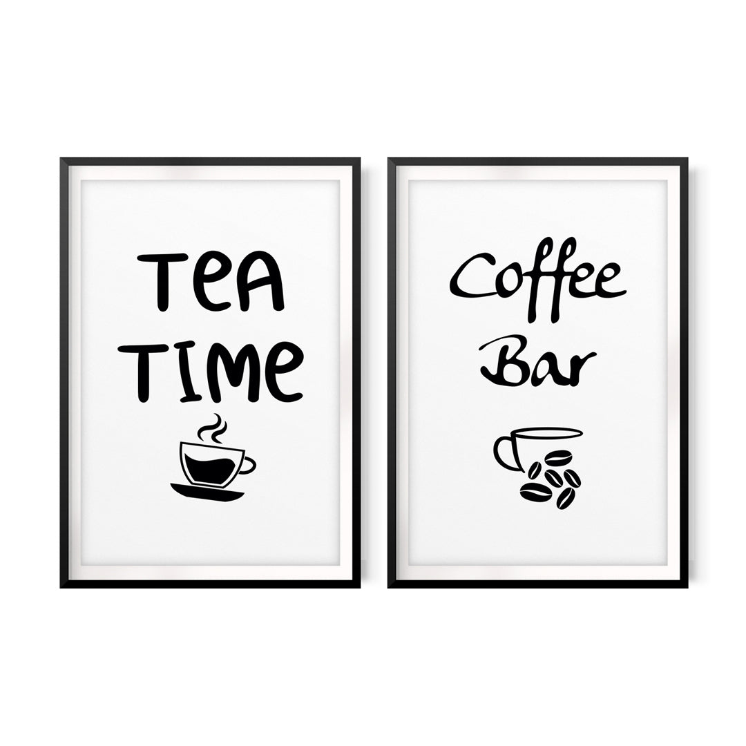 Tea Time, Coffee Bar (2 Pack) UNFRAMED Print Home Décor, Quote Wall Art