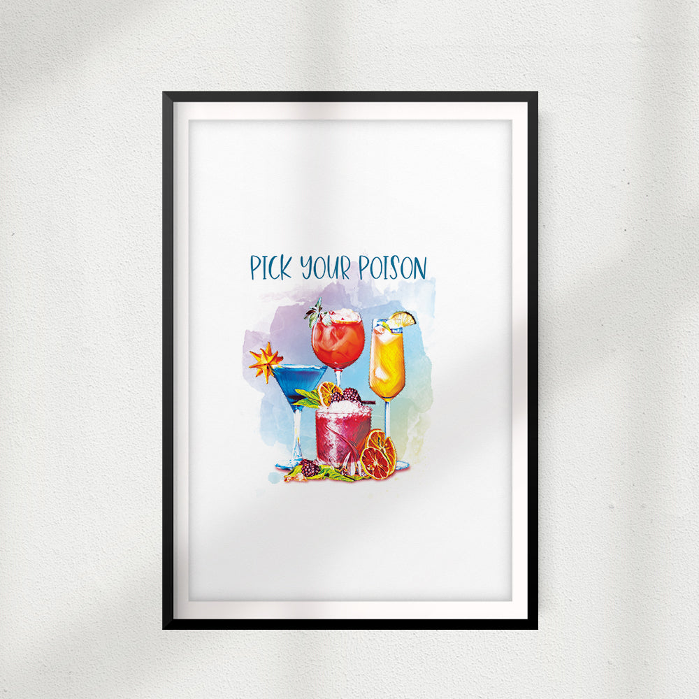 Pick Your Poison Skinny Cocktails UNFRAMED Print Drinking Wall Art