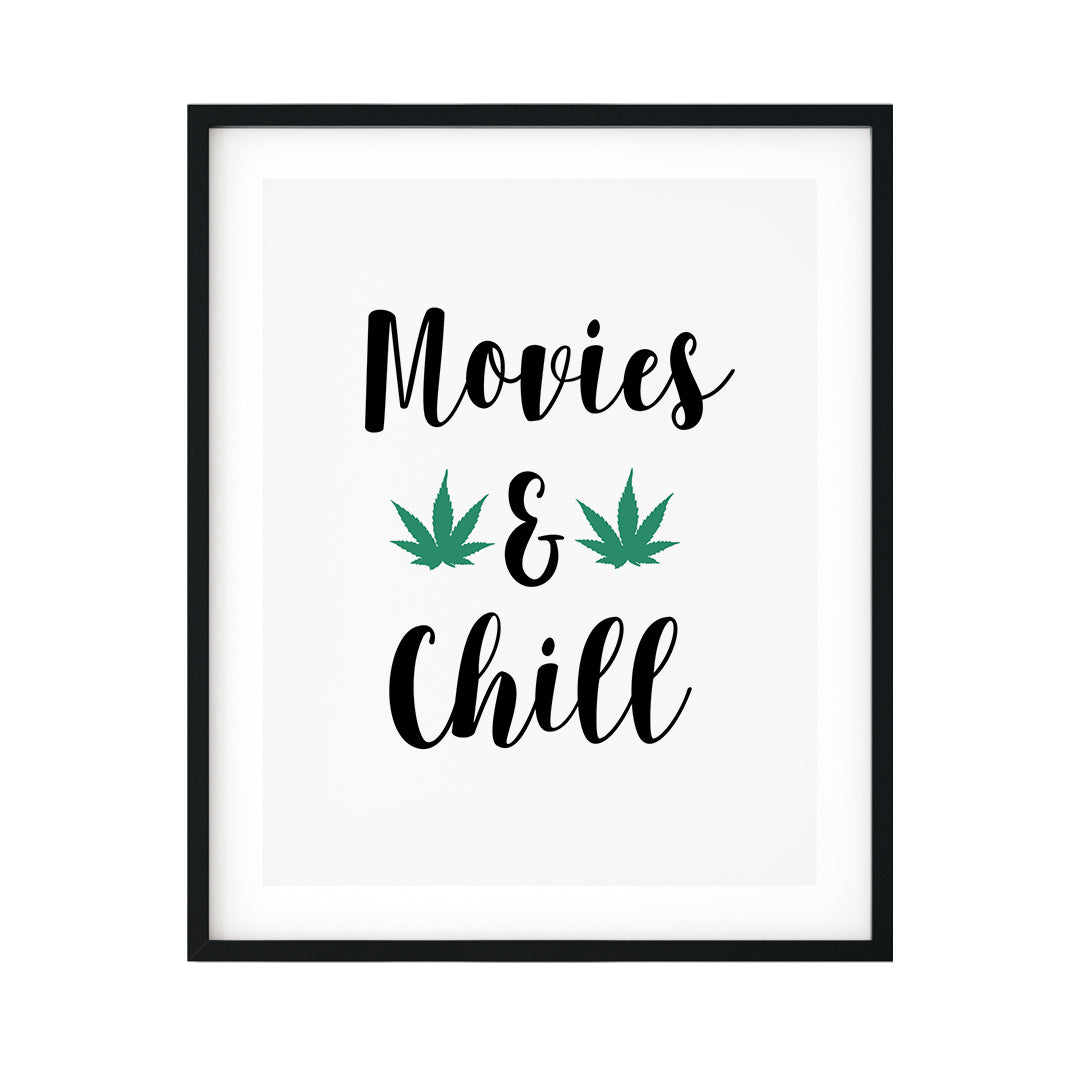 Movies And Chill UNFRAMED Print Inspirational Wall Art