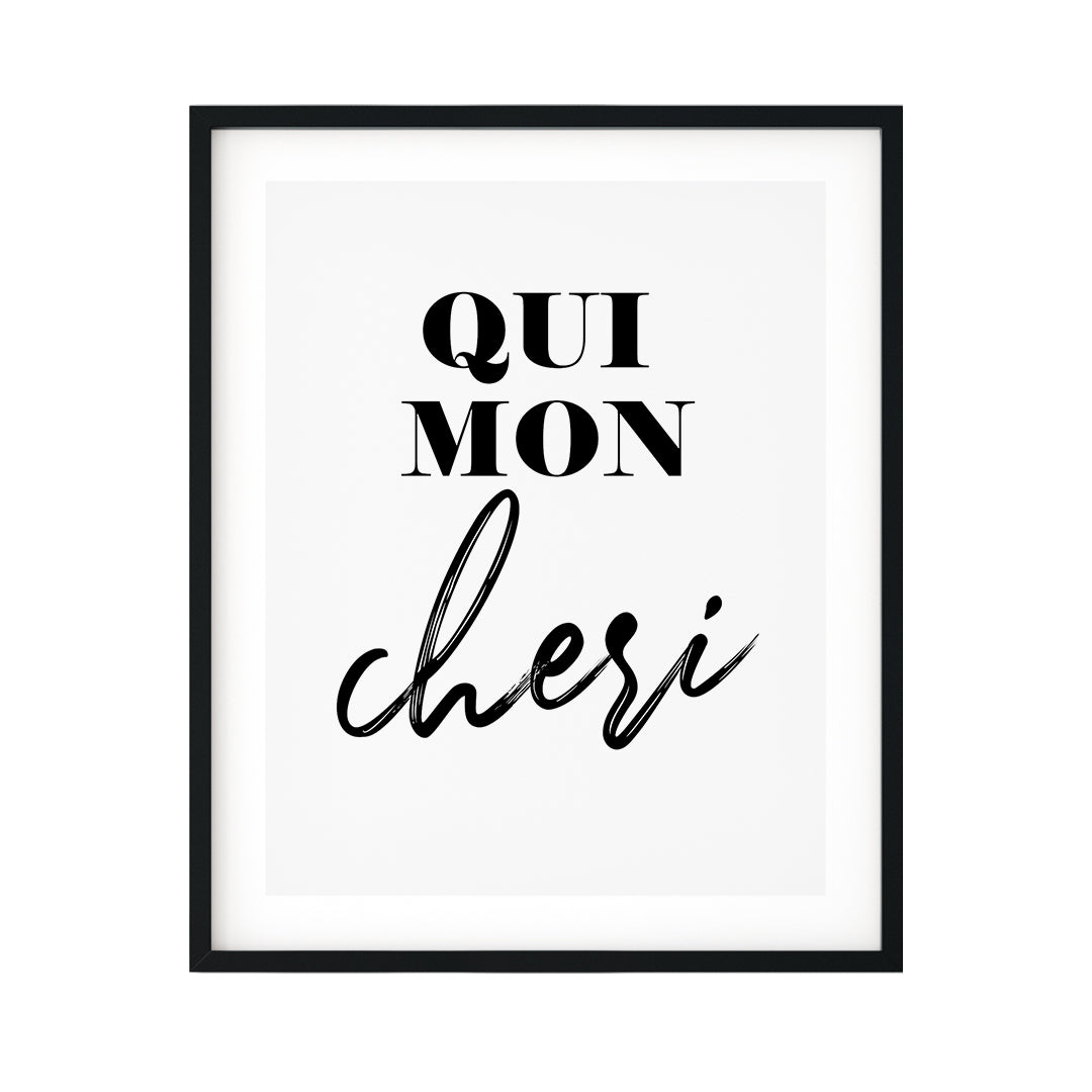 Oui Mon Cheri UNFRAMED Print Cute Typography Wall Art