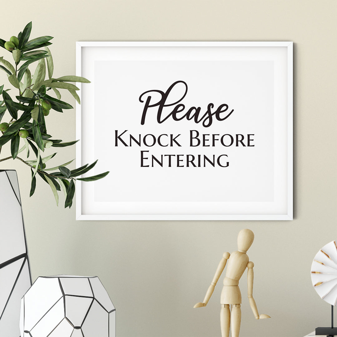 Please Knock Before Entering UNFRAMED Print Business & Events Decor Wall Art
