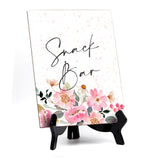 "Snack Bar Table Sign with Easel, Floral Watercolor Design (6"" x 8"")"