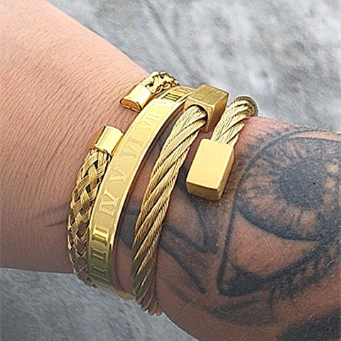 Luxury 3pcs/Set Stainless Steel Bracelet Gold Color-Bracelets-HADES