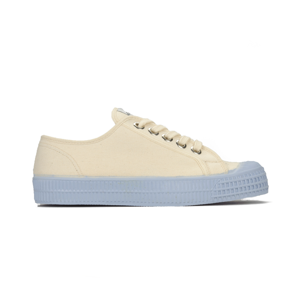 Beige canvas low top sneaker with blue sole - side view