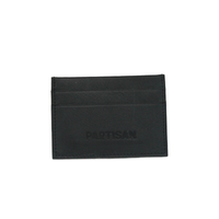 Black leather cardholder with Partisan logo on the front
