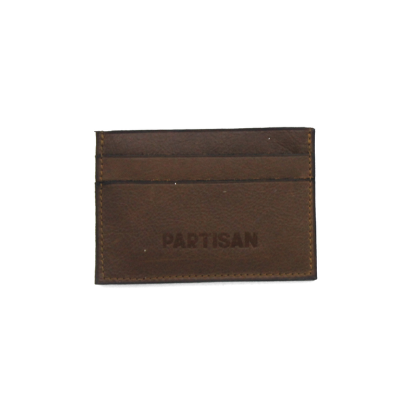 Tobacco Brown leather cardholder with Partisan logo on the front, fits 5 cards