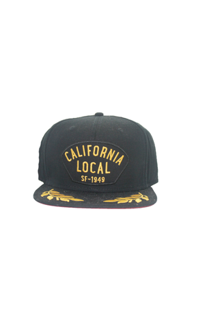 Goorin - City Cap - Black & Gold Flat Cap - California - Partisan, Parkhurst