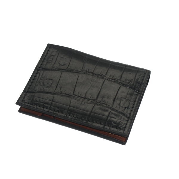 Crocodile Leather Wallet - Black - Partisan - 6 card slots
