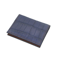 Crocodile Leather Wallet - Blue - Partisan - 6 card slots
