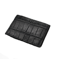 Crocodile Leather Wallet - Charcoal - Partisan - 6 card slots