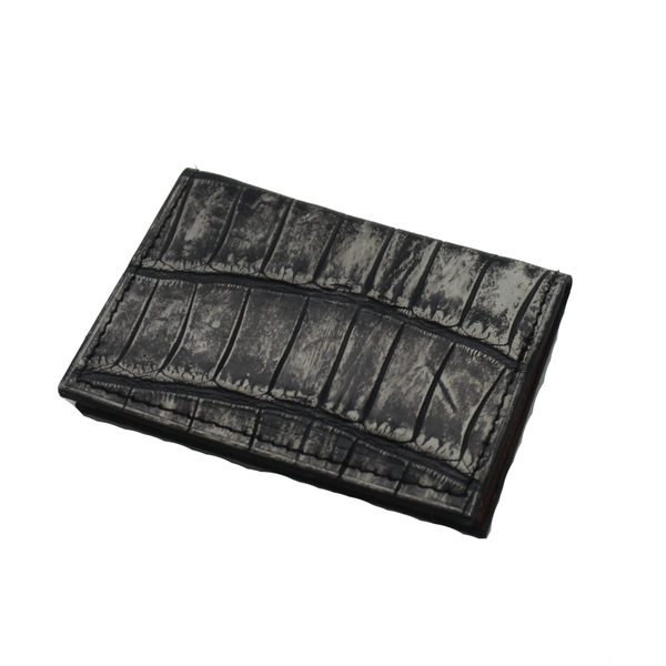 Crocodile Leather Wallet - Ghost Grey - Partisan - 6 card slots