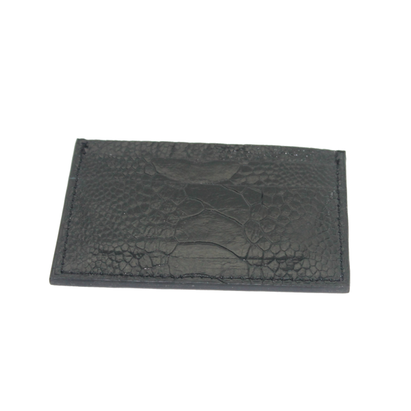 Ostrich leather cardholder - black - 5 card slots - Partisan