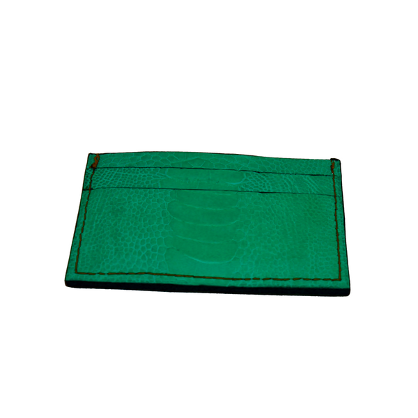 Ostrich leather cardholder - turquoise - 5 card slots - Partisan