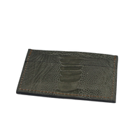 Ostrich leather cardholder - olive green - 5 card slots - Partisan