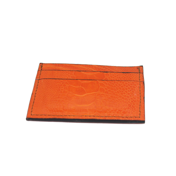 Ostrich leather cardholder - orange - 5 card slots - Partisan