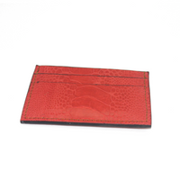 Ostrich leather cardholder - red - 5 card slots - Partisan