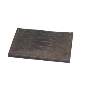 Ostrich leather cardholder - tobacco brown - 5 card slots - Partisan