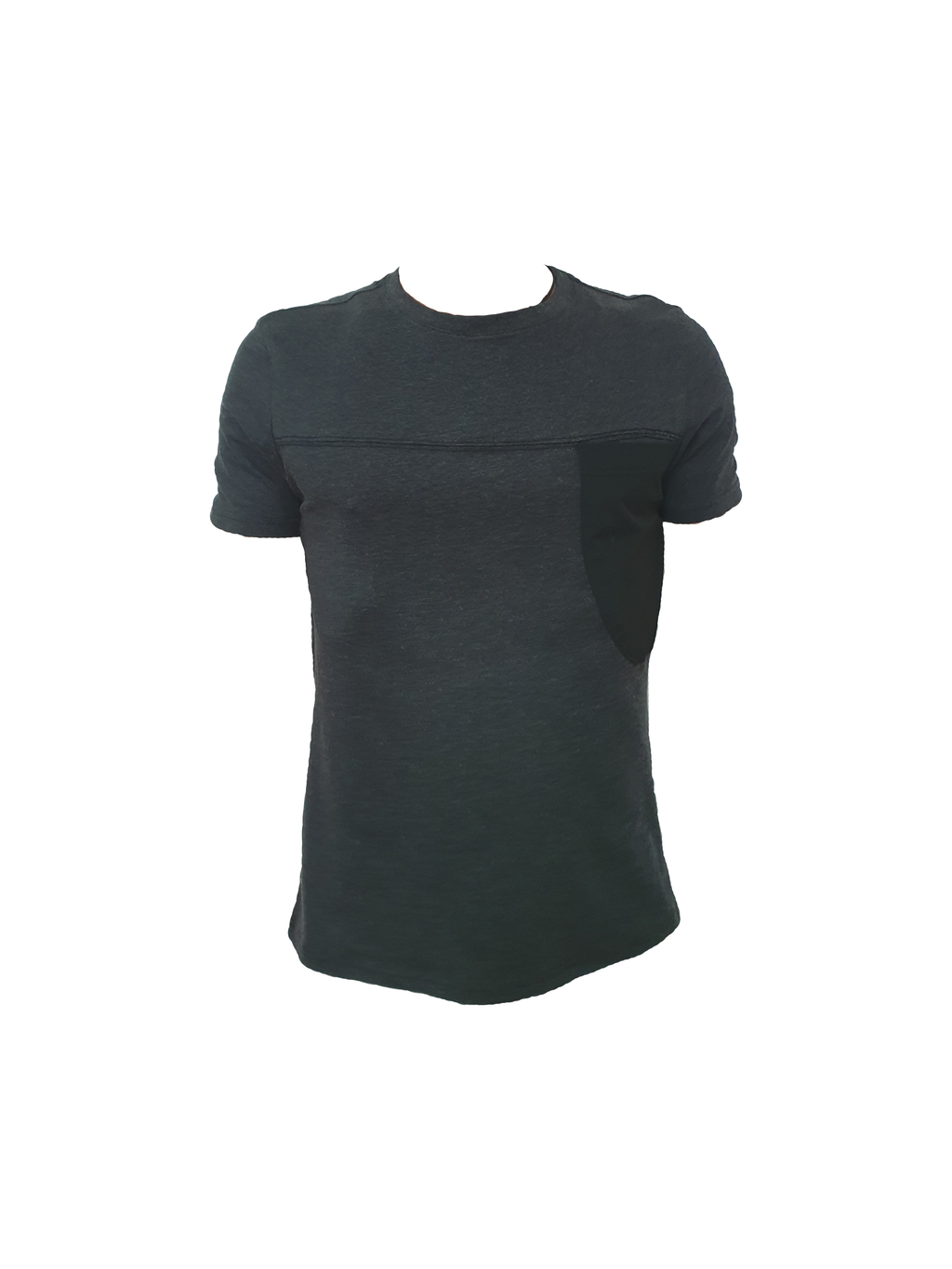 Dark grey or charcoal tee shirt with black pocket - 100% cotton t shirt