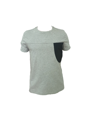 Grey cotton tee with black breast pocket