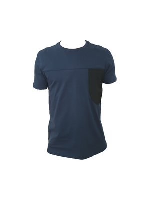 Navy cotton t shirt with black breast pocket