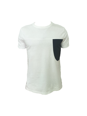 White cotton t with black breast pocket