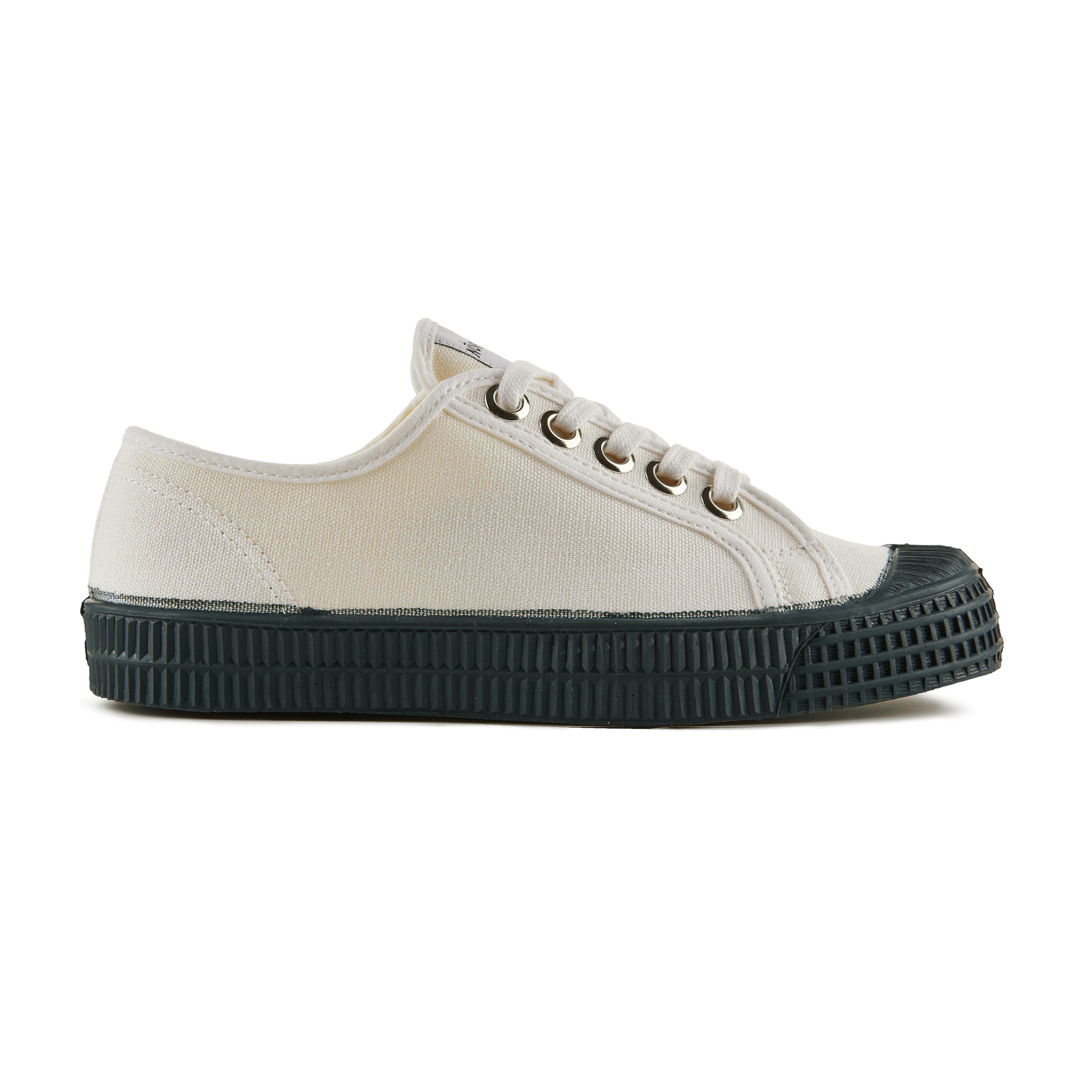 Novesta White Canvas Shoe with Dark Green Sole - Side View
