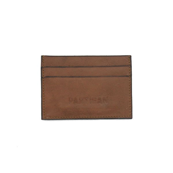 Tan leather cardholder with Partisan logo on the front, fits 5 cards