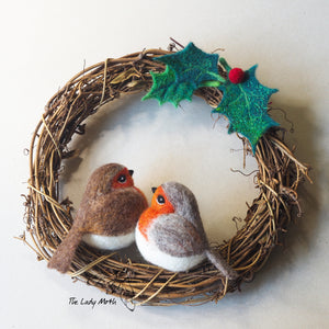 Needle Felting Tutorials and Kits from The Lady Moth.  Christmas wreath with felted holly and robins