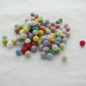 Pack of Pure Wool Felt Balls - Pastel Mix  10mm diameter