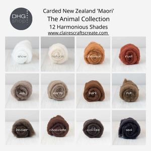 NEW...The Animal Collection - Carded New Zealand Wool DHG 'Maori' Batts