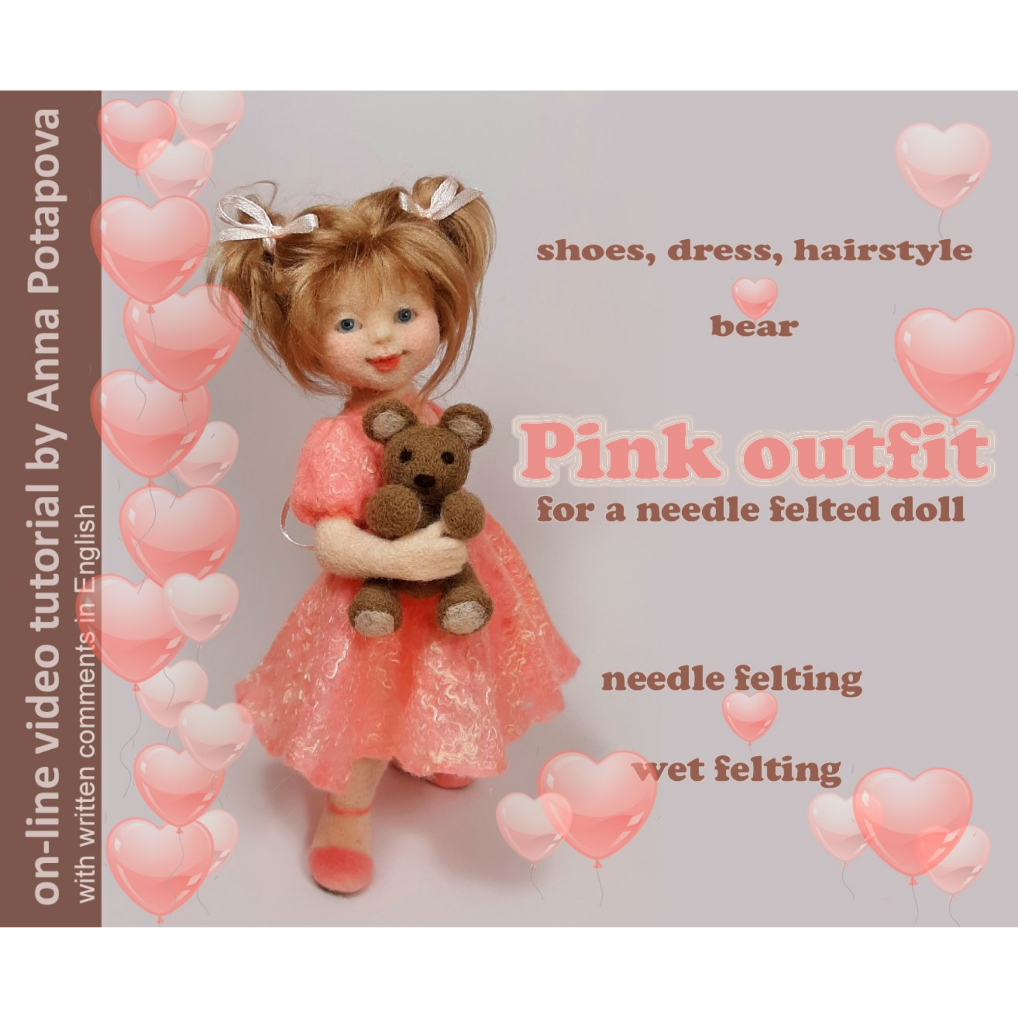 Online Felting Workshop by Anna Potapova - 'Hope' ballerina outfit and teddy bear - kit with 75 minutes high quality online video tutorial.  INCLUDES *FREE DELIVERY