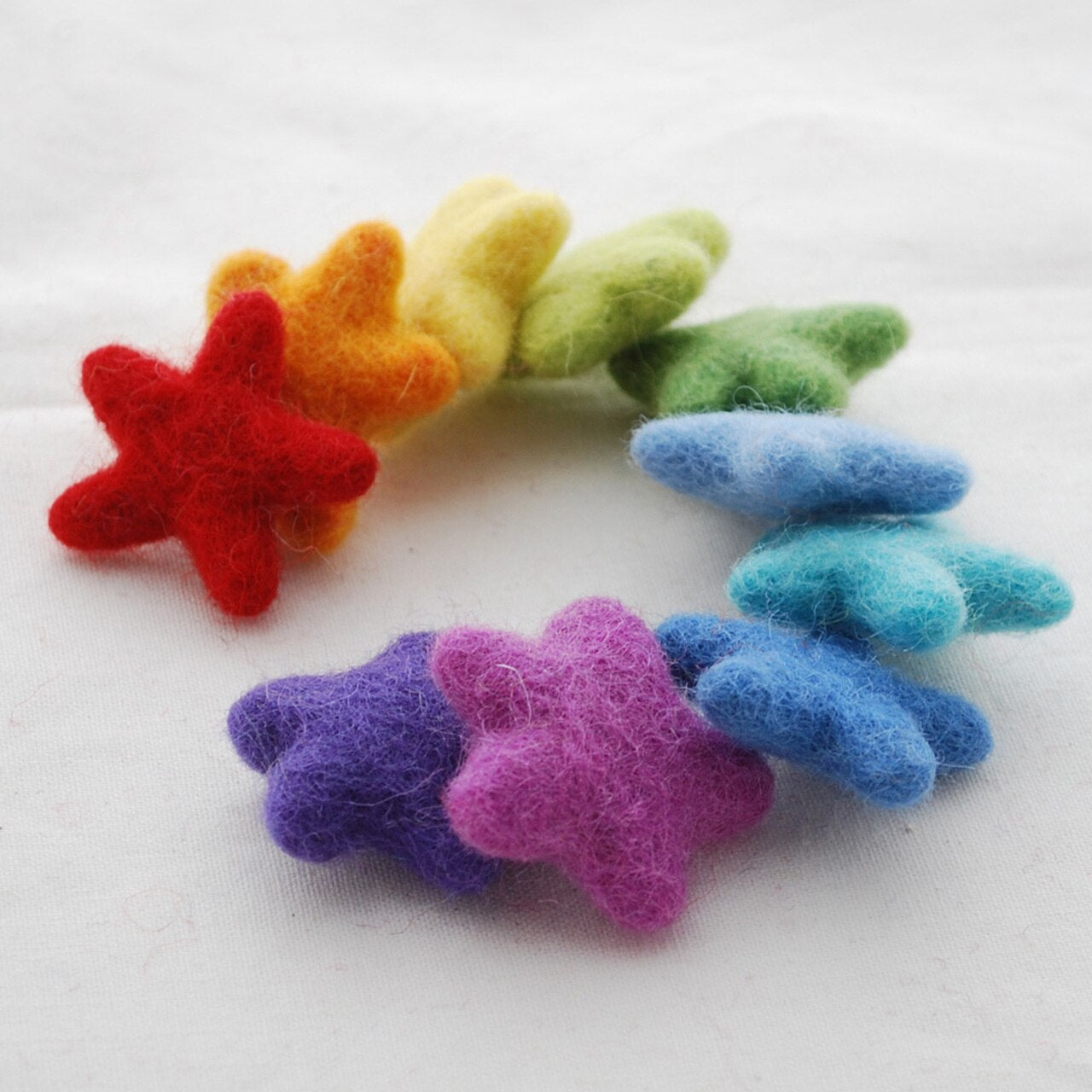 Handmade 100% Wool Stars - 10 stars - approx 3.5cm - Rainbow Colours