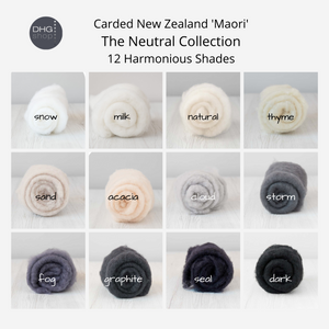 The Neutral Collection - Carded New Zealand Wool DHG 'Maori' Batts