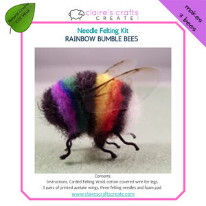 Rainbow Bumble Bees Needle Felting Kit