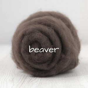 Carded Batting Extra Fine Merino Needle Felting Wool - Beaver