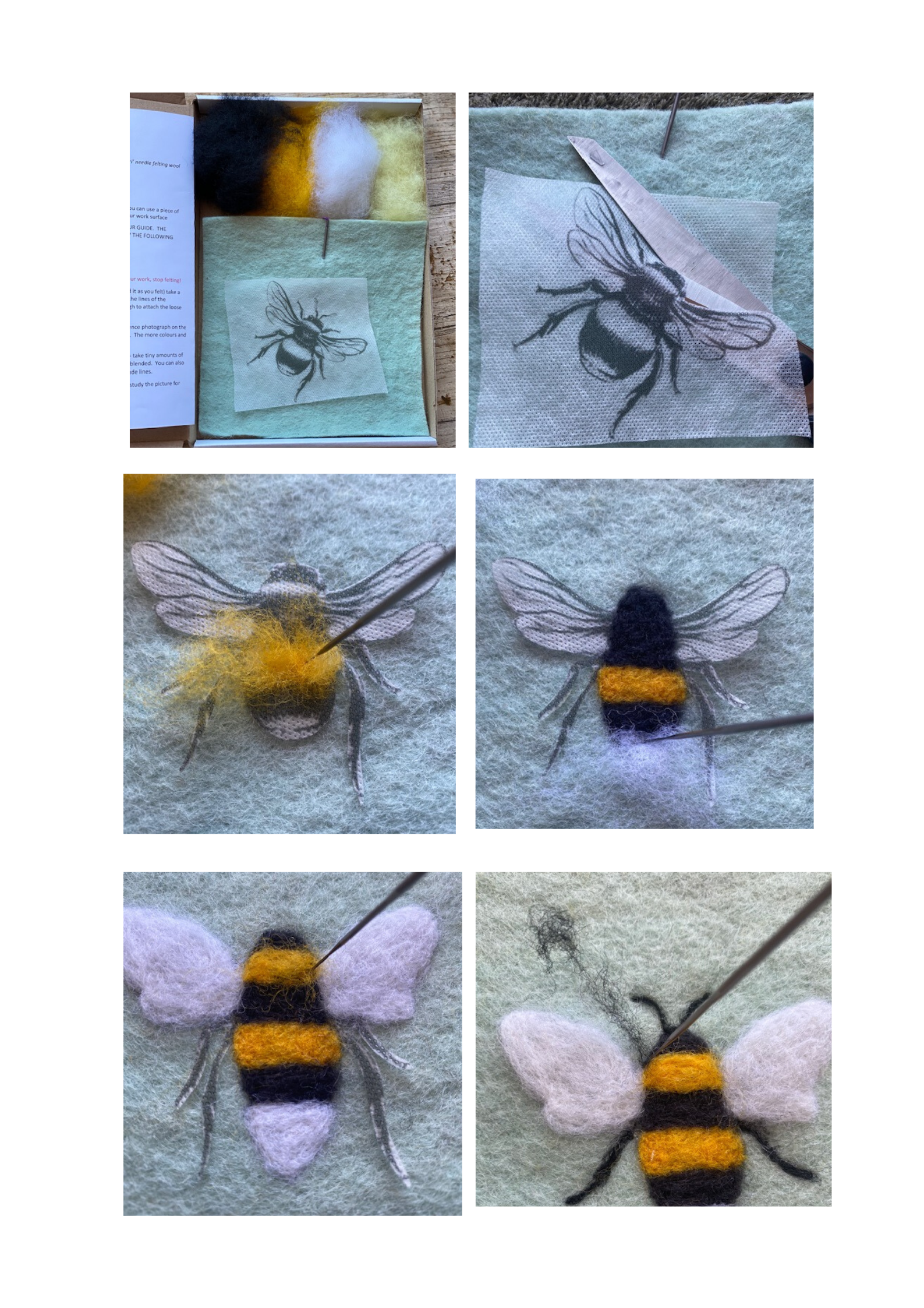 BEGINNER'S  2D Needle Felted Bumble Bee Picture Kit