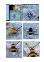 Load image into Gallery viewer, BEGINNER'S  2D Needle Felted Bumble Bee Picture Kit