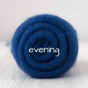 Carded Batting Extra Fine Merino Needle Felting Wool - Evening