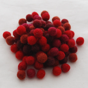 Handmade Felt Balls - 1cm -  Shades of Red