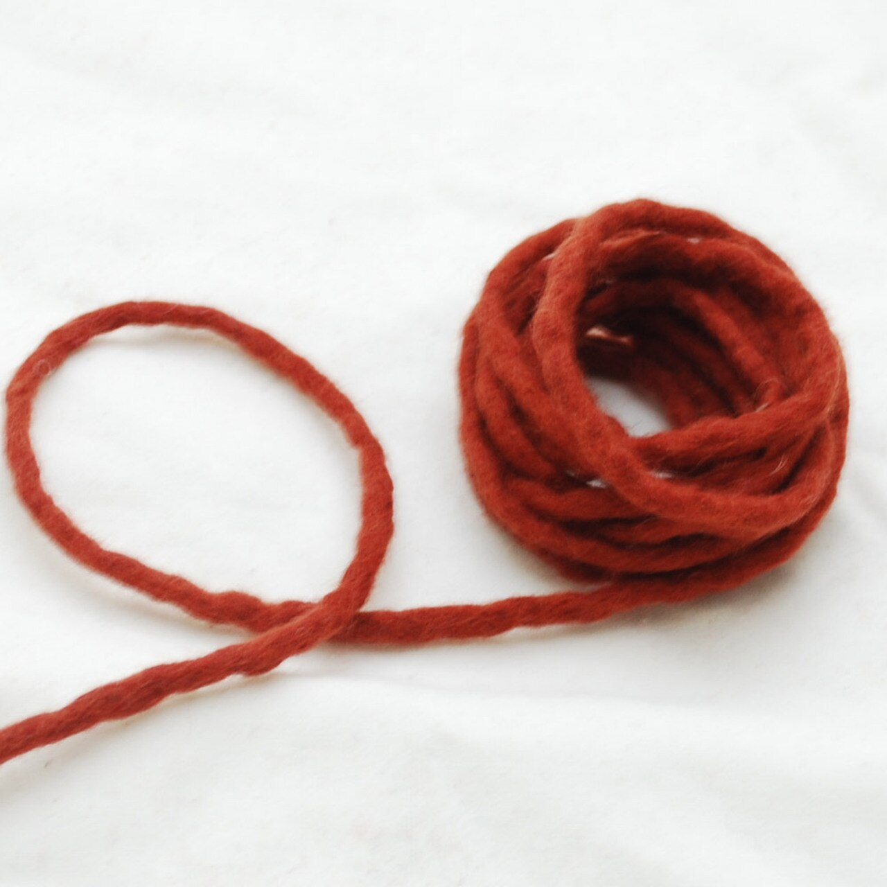Handmade 100% Wool Felt Cord - Dark Chestnut Red