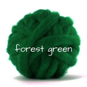 Carded Corriedale Slivers   Forest Green