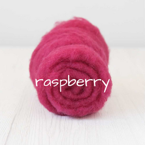 Carded Batting New Zealand Wool DHG 'Maori' Batt - Raspberry