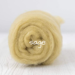 Carded Batting Extra Fine Merino Needle Felting Wool - Sage