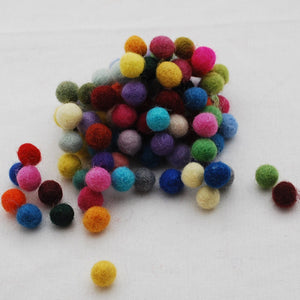 Pack of Pure Wool Felt Balls - Multi Colour Mix  10mm diameter