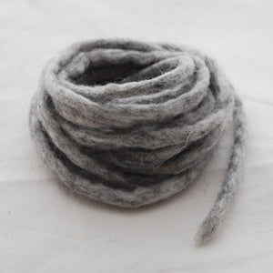 Handmade 100% Wool Felt Cord - Light Grey Mix