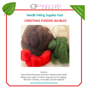 Christmas Pudding Baubles Needle Felting Supplies Pack