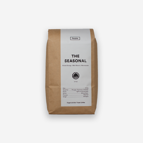 Peoples Coffee: Seasonal Blend. 500g Bag Organic and Fair Trade.