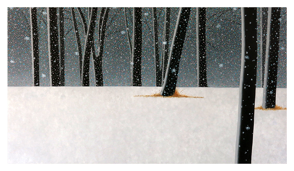 White snow contrasts with black trees during a blizzard in this painting by Kim Kern