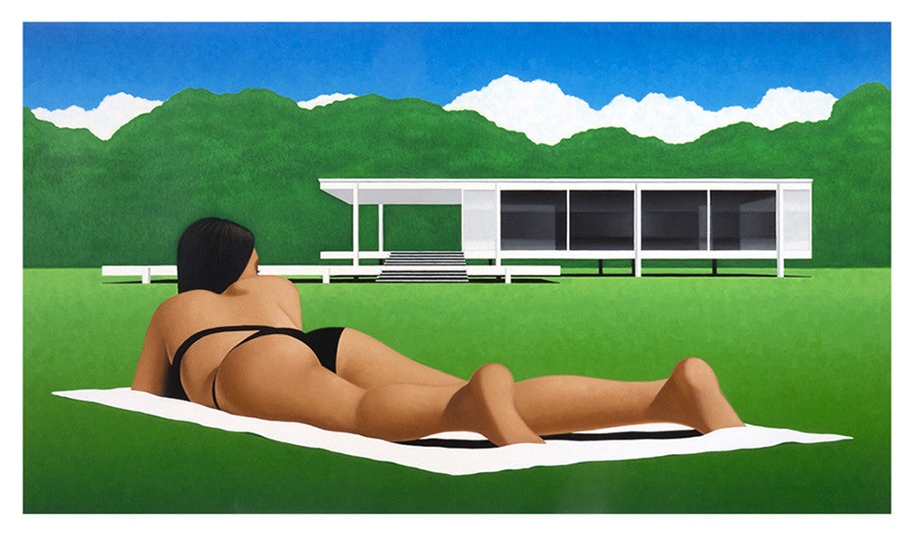 Designed by Mies van der Rohe in 1945 and constructed in 1951, the Farnsworth House near Plano IL is an American icon. Painting by KimKern.com