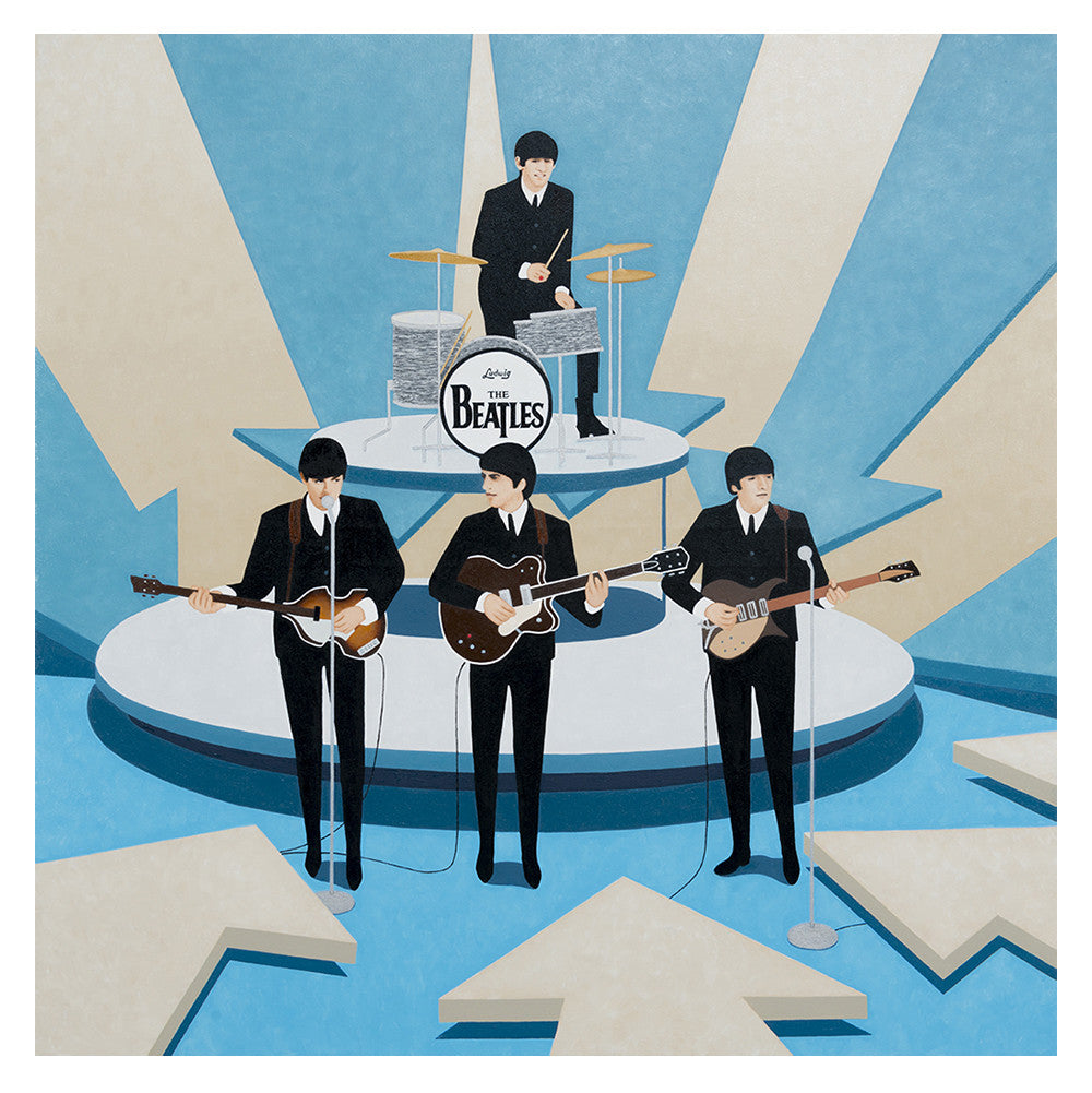 On  February 09, 1964 when I was 15 years old, 73 million Americans first beheld the exotic, exciting, fun, unique, modern, fresh, hypnotic Beatles singing Love Me Do on the Ed Sullivan Show in mono and glorious black and white. Painting by KimKern.com.